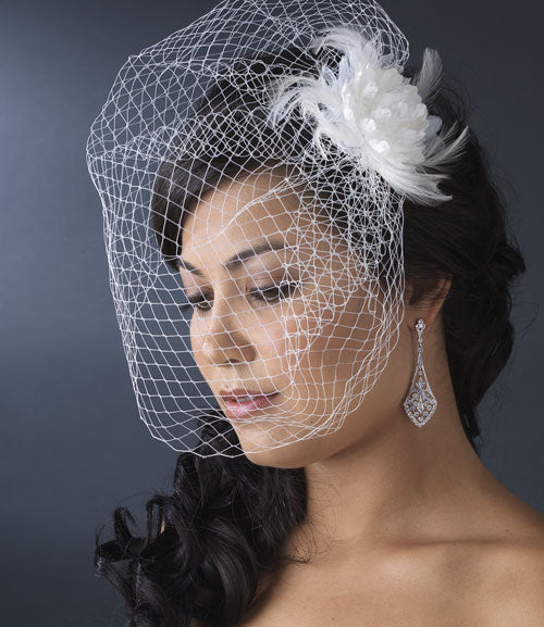 Feather Flower Fascinator with Bird Cage Veil (White or Ivory)