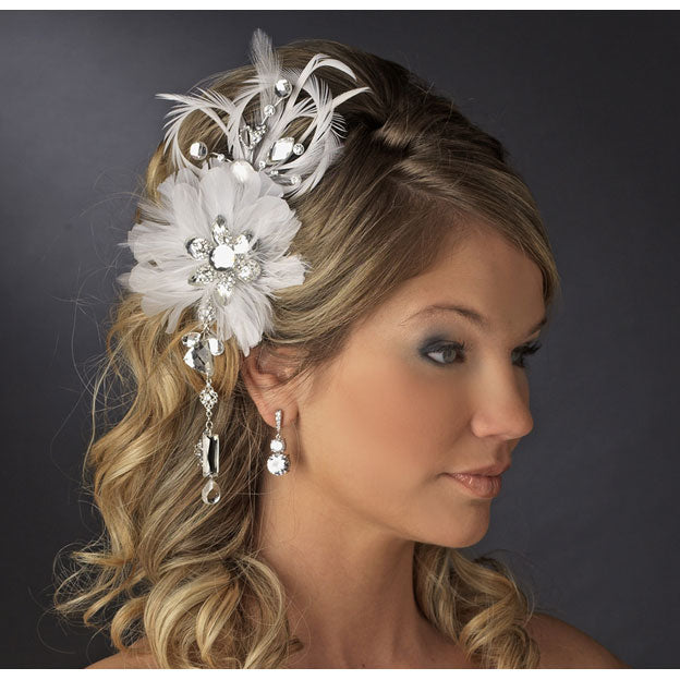 Vintage Bridal Feather Hair Fascinator with Dangling Crystals