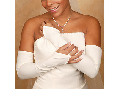 Fingerless Matte Satin Bridal Glove Opera/Shoulder Length ( 3 Colors)