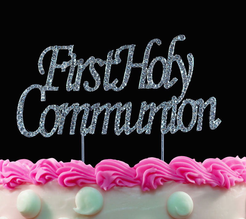 First Holy Communion Crystal Cake Toppers Silver Party Cake Picks