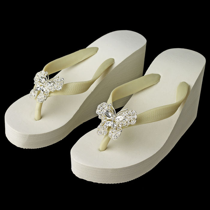 High Wedge Bridal Flip Flops with Rhinestone Butterfly Accent ( White or Ivory )