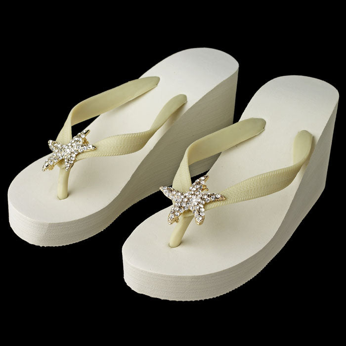 High Wedge Bridal Flip Flops with Gold Starfish Rhinestone ( White or Ivory )