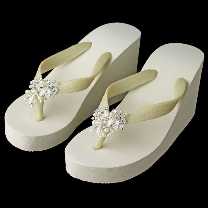 High Wedge Bridal Flip Flops with Rhinestone & Freshwater Pearl Leaf Accents ( White or Ivory )