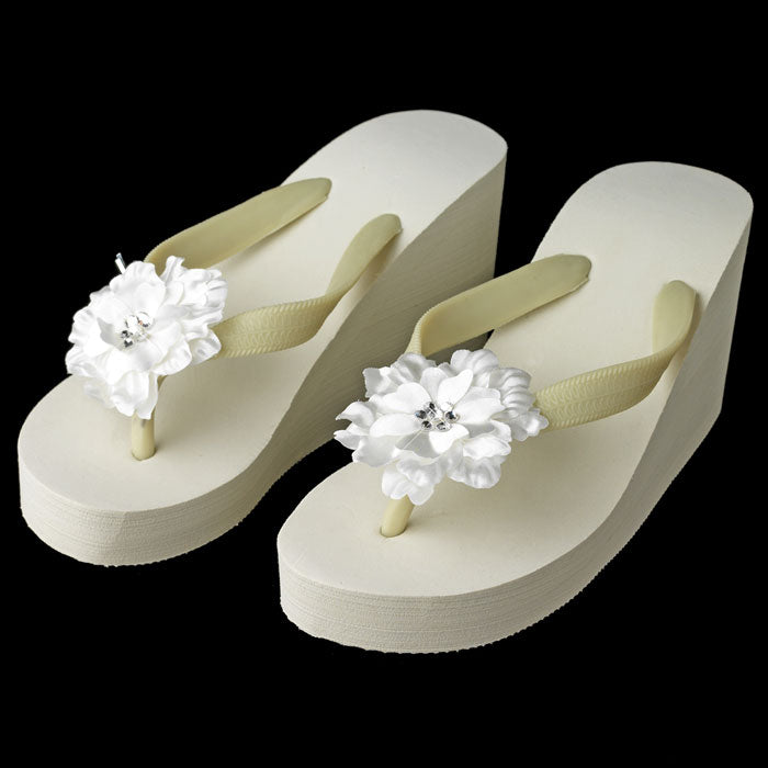 High Wedge Bridal Flip Flops with Flower Crystal Accent ( White or Ivory )