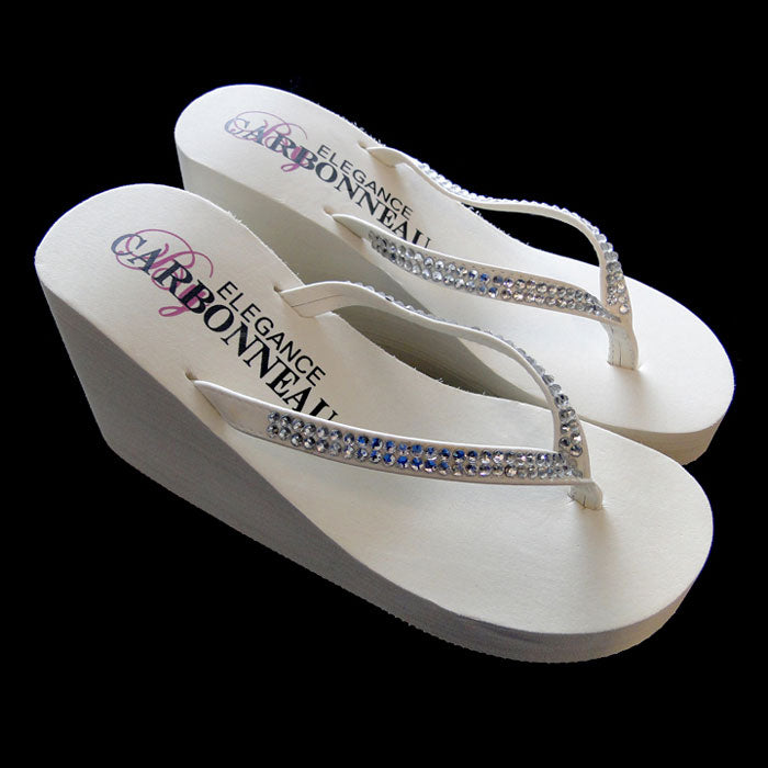 Crystal Bridal Flip Flops High Wedge with Crystal Accented Suedene Strap ( Ivory or White or Black)