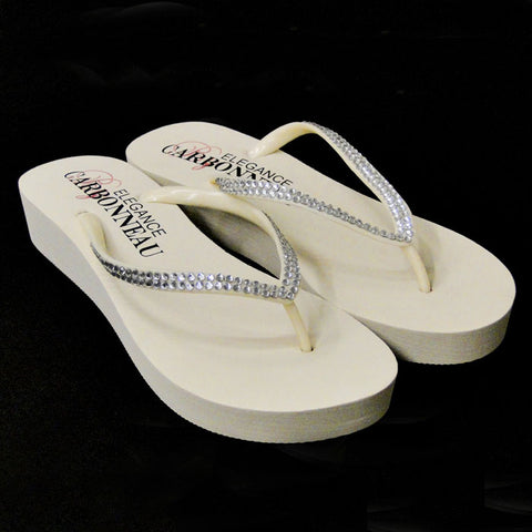 Bridal Flip Flops with Crystal Straps ( Ivory or White or Black)