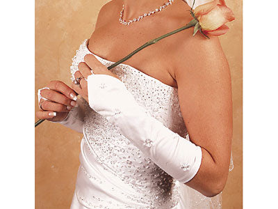 Bridal Gloves Floral Fingerless Gloves Below Elbow (White or Ivory)