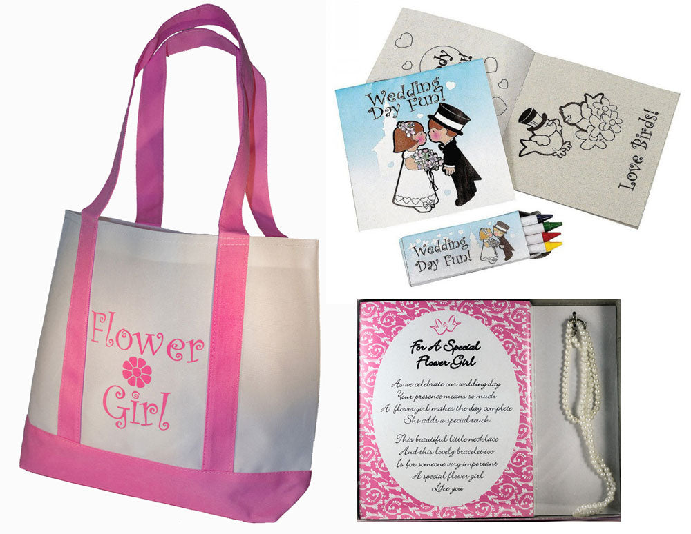 Flower Girl Gifts Set: Tote Bag, Necklace and Bracelet Set, Wedding Day Activity kits