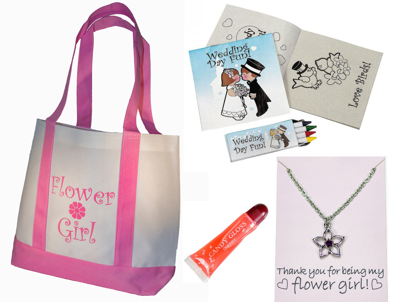 Flower Girl Gifts Set: Tote Bag, Metal Flower Girl Necklace, Lip Gloss, Wedding Day Kids Activity Kits