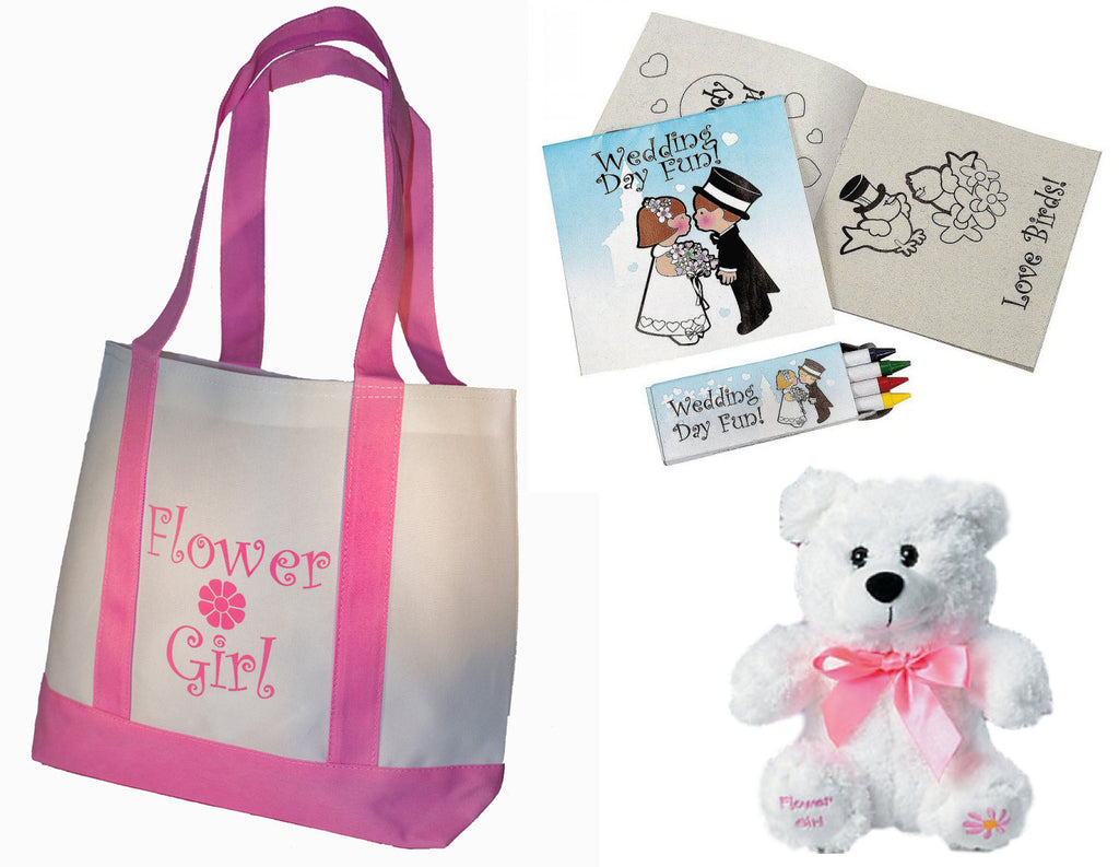 Flower Girl Gifts Set: Tote Bag, Teddy Bear, Wedding Day Activity kits