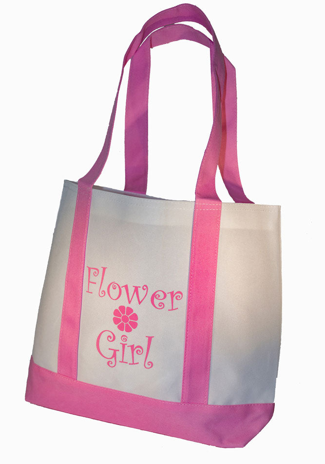 * Flower Girl Tote Bag White with Pink Straps Large Wedding Flower Girl Gifts