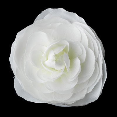 Diamond White Ranunculous Flower Bridal Hair Clip