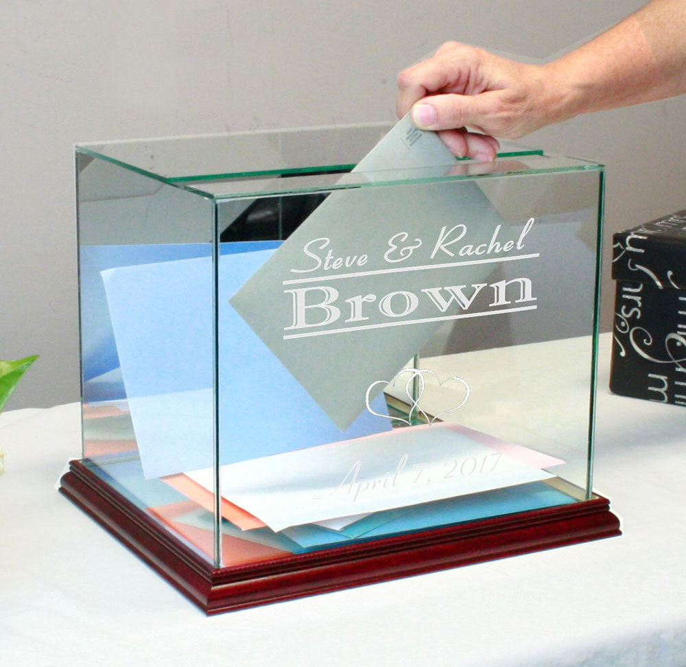 Glass Wedding Card Box Personalized Rectangle Money Box
