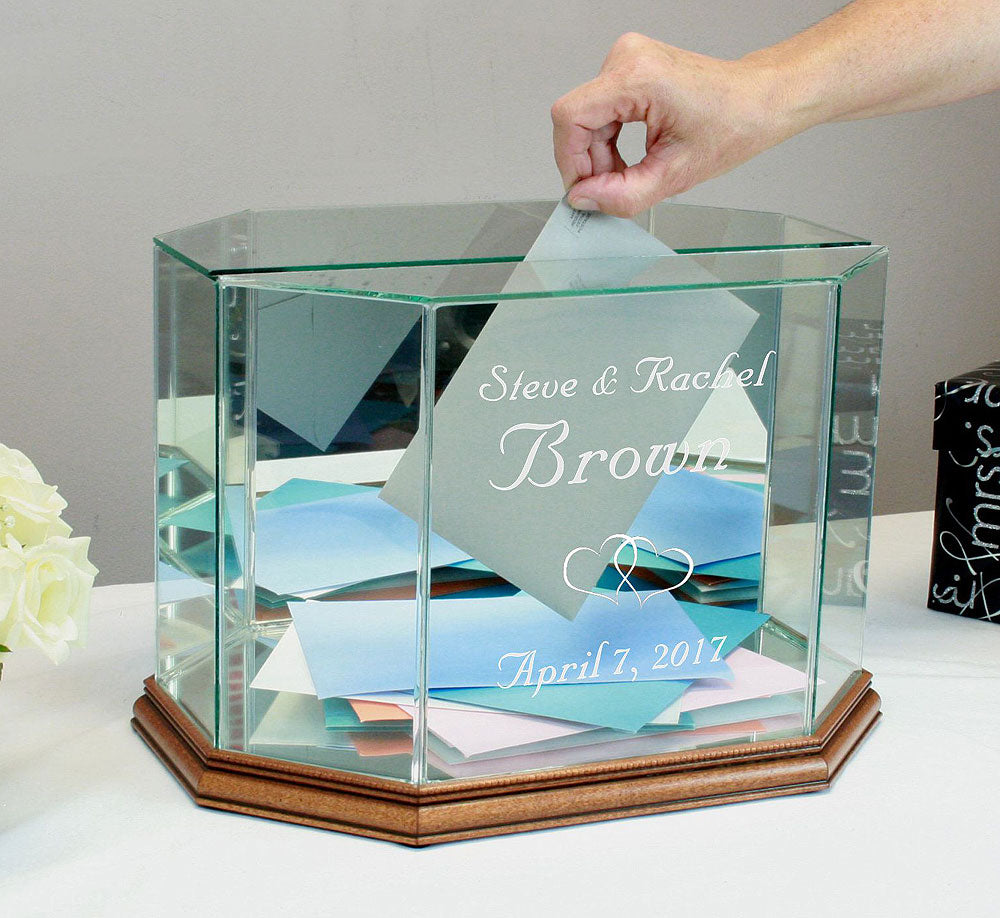 Glass Wedding Card Box Personalized Octagon Money Box