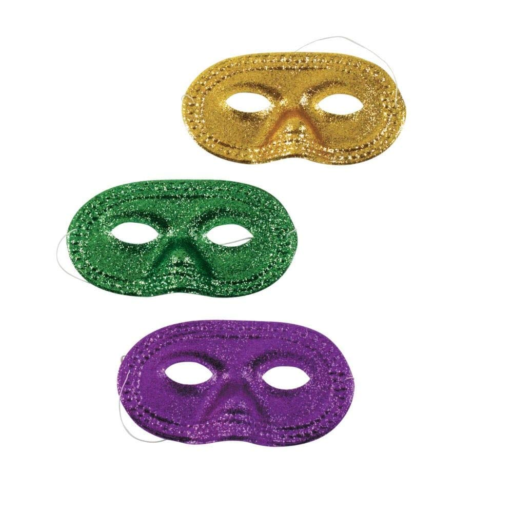 Mardi Gras Glitter Half Face Masks Pack of 12 Assorted Colors