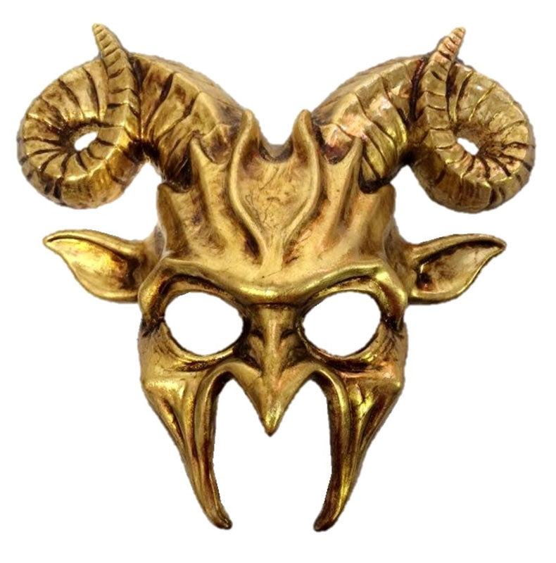 Goat Masquerade Mask Horn Adult Mens Animal Ram Venetian Mask Gold or Silver