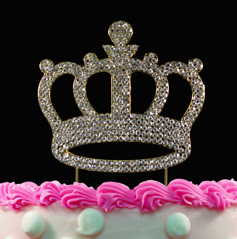Gold Crown Bling Crystal Princess Birthday Baby Shower Cake Toppers