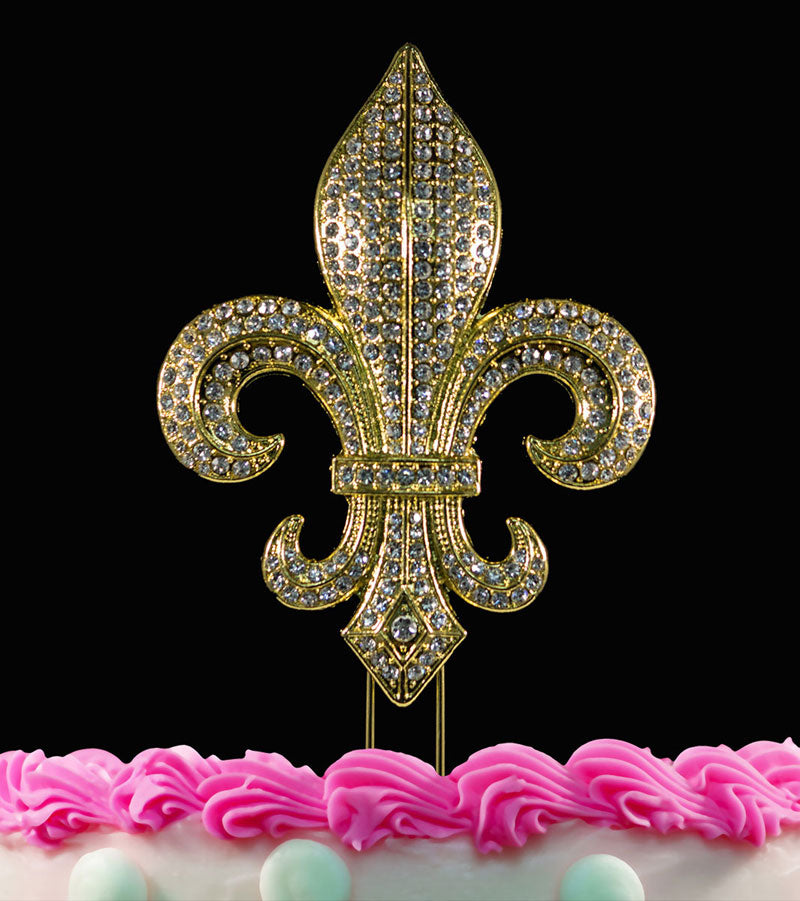 Fleur De Lis Bling Crystal Cake Toppers Weddings Mardi Gras Silver or Gold