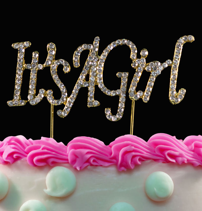Gold Girl Bling Crystal It's a Girl Baby Shower Cake Toppers