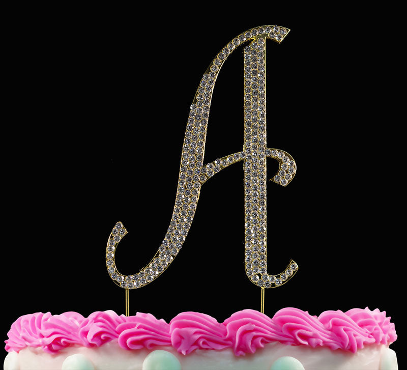 Gold Monogram Cake Topper Crystal Cake Initial A to Z Any Letter
