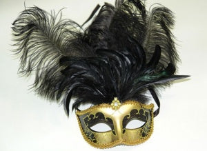 Gold Masquerade Mask with Black Feather and Jewel
