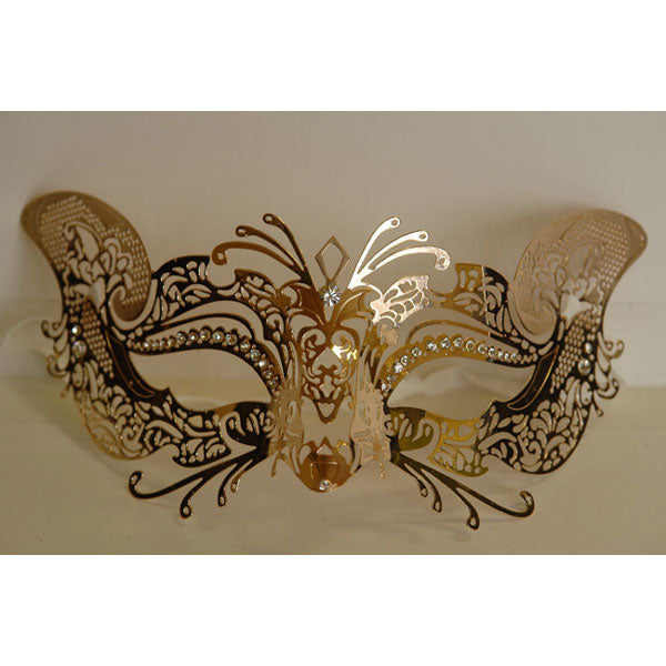 Gold Cat Design Laser Cut Metal Masquerade Mask with Crystals