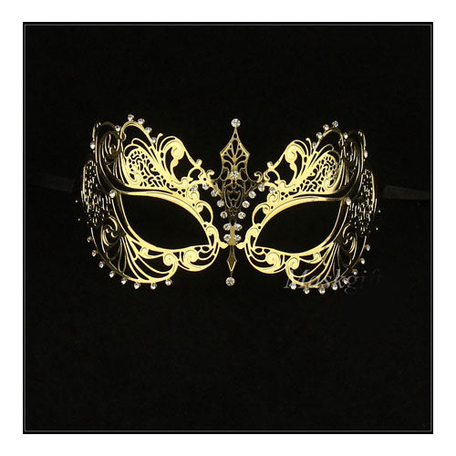Gold Laser Cut Metal Masquerade Mask with Clear Crystals