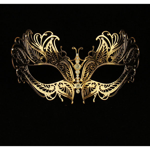Gold Butterfly Masquerade Mask Laser Cut Venetian Mask Halloween Clear Crystals