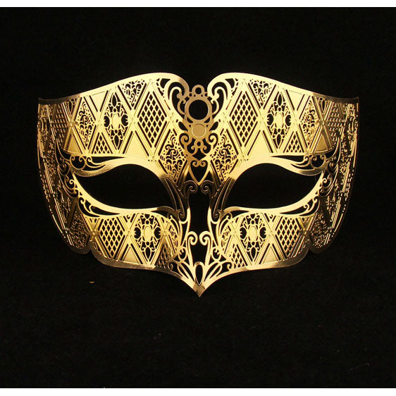 Gold Male Masquerade Masks Laser Cut Metal Mask for Men