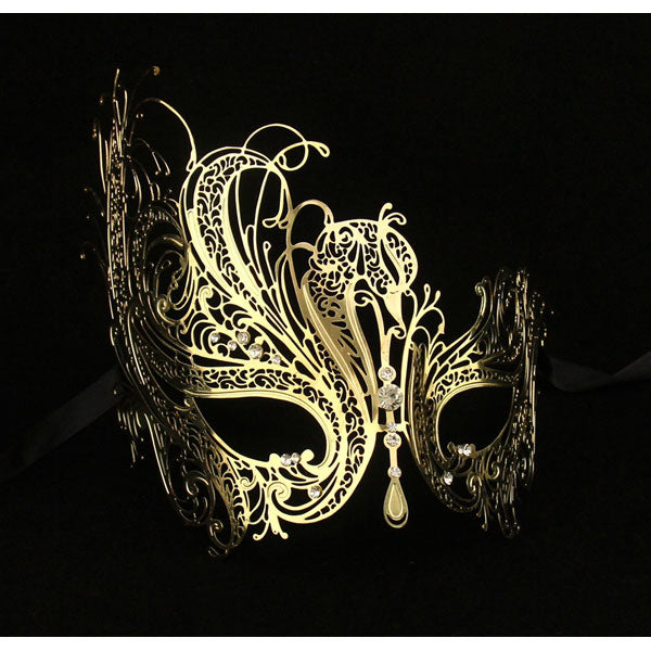 Gold Swan Laser Cut Metal Filigree Masquerade Mask