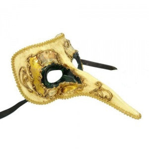 Ornate Long Noses Masquerade Mask - Dark Green with Gold