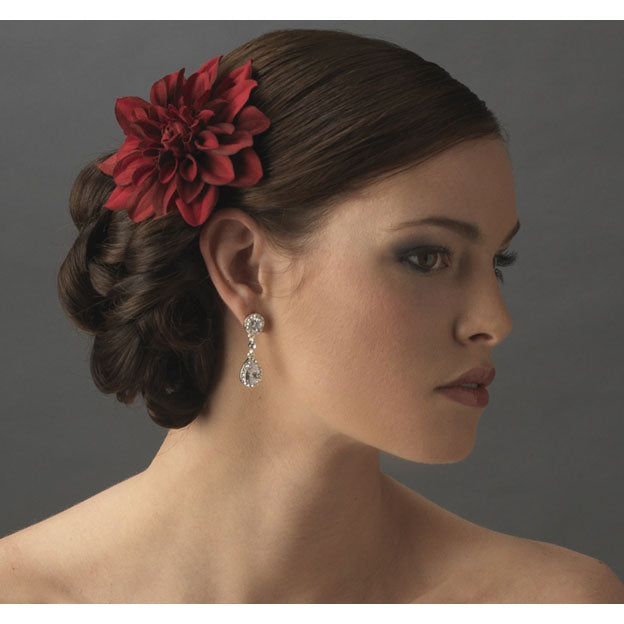Deep Red Stardust Dahlia Bridal Flower Hair Clip