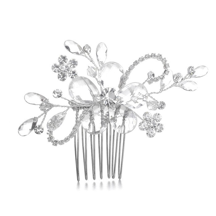 Elegant Hair Comb with Faceted Crystal Spray