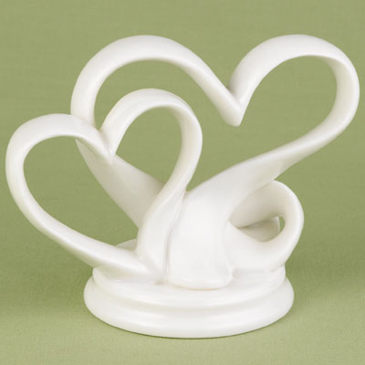 Double Heart Porcelain Cake Topper