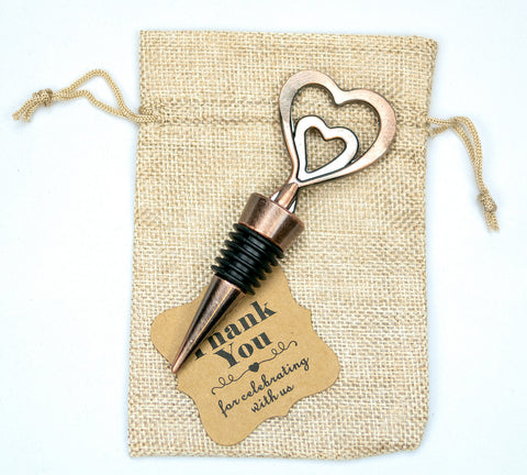 Copper Vintage Two Hearts Become One Bottle Stoppers Pack of 12 Gifts Favors