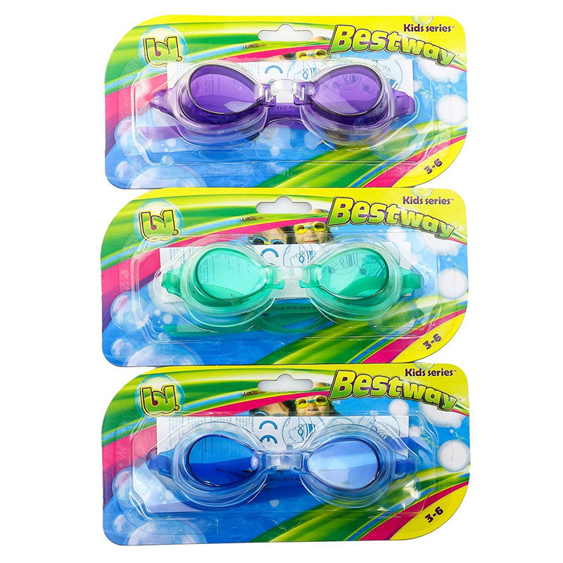 High Style Swimming Goggles Set of 3 Assorted Colors Kids Age 3 up