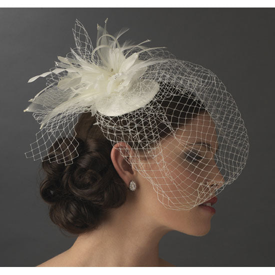 Bird Cage Veiling Bridal Hat with Swarovski Crystal & & Feather White or Ivory