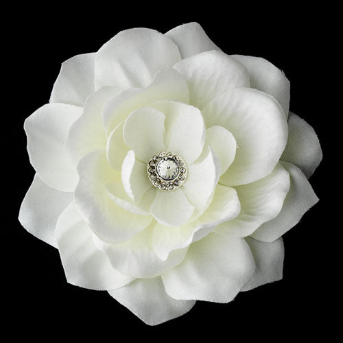 Elegant Diamond White Jeweled Delphinium Flower Bridal Hair Clip