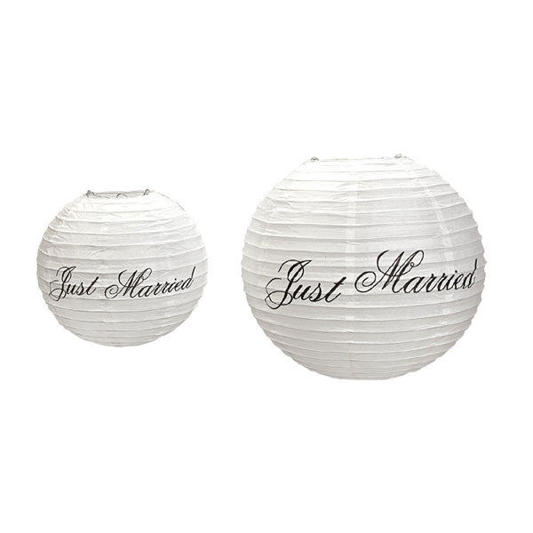 Just Married Lanterns Set of 6 Lantern Decorations