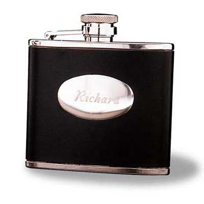 Personalized Stainless Steel 4oz Leather Flask Gift