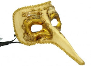 Long Nose Masquerade Mask for Men Casanova Gold Ebony Masquerade Masks