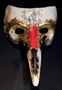Venetian Mask Red Ornate Gold Long Noses Party Mask