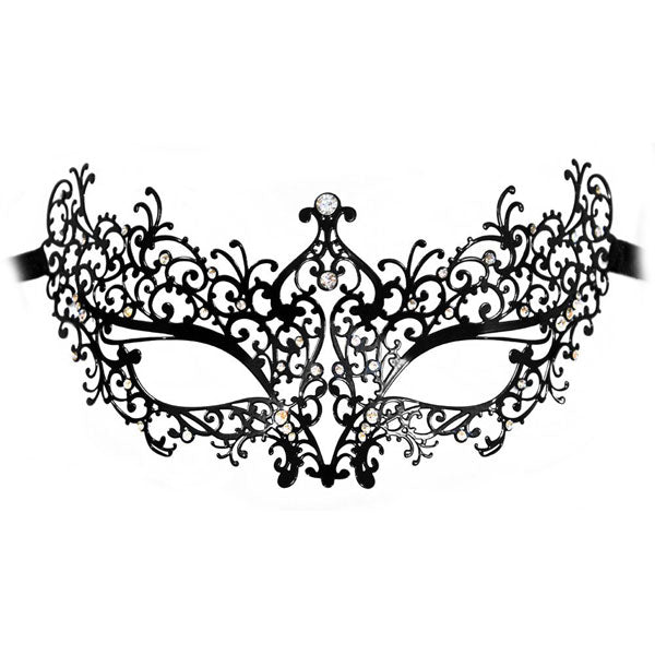 Lady Laser Cut Metal Black Venetian Masquerade Mask with Crystals