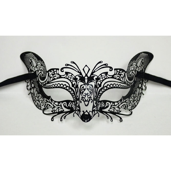 Cat Design Laser Cut Metal Black Masquerade Mask