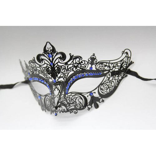 Black Laser Cut Metal Venetian Mask with Blue Diamonds
