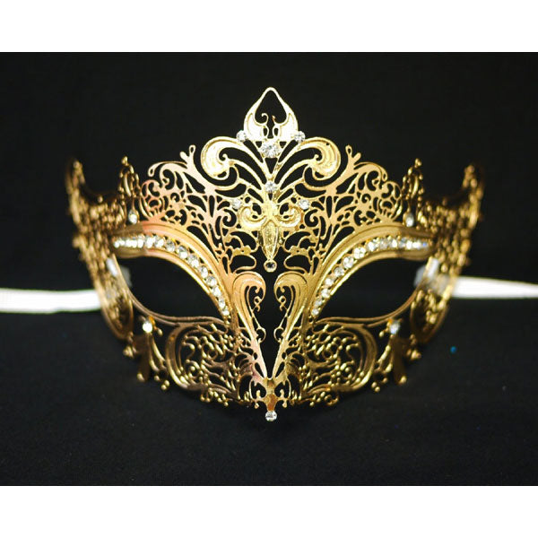Gold Laser Cut Metal Mask Venetian Mask with Crystals