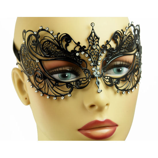 Black Laser Cut Metal Masquerade Mask with Crystals (Clear or Red)