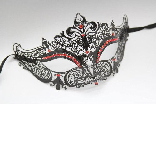 Black Laser Cut Metal Venetian Mask with Red Diamonds