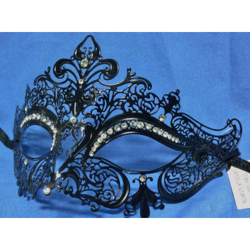 Black Laser Cut Metal Venetian Crown Mask with Crystals