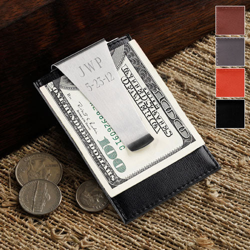 Personalized Leather Money Clip/Credit Card Holder